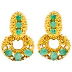 Vintage 6.74 Carat Emerald Diamond 18 Karat Gold Doorknocker Ear-Clip Earrings