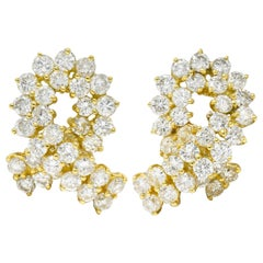 Vintage 6.80 Carats Diamond 18 Karat Gold Twist Earrings