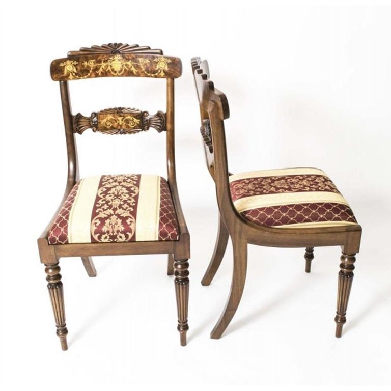 Dinner Table Sets For Sale: Vintage Round Marquetry Dining Table And 10 Chairs For