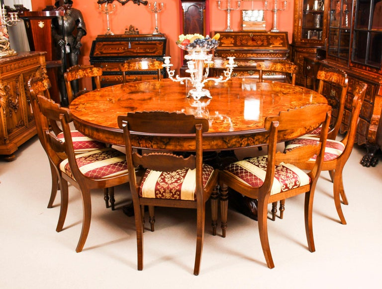 Vintage Round Marquetry Dining Table And 10 Chairs At 1stdibs