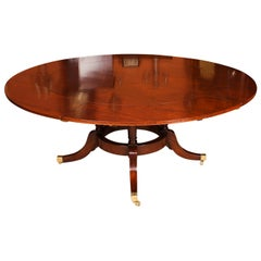 Vintage 6ft Diam Mahogany Jupe Dining Table & Leaf Cabinet. Mid 20th C