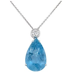 Vintage 7 Carat Aquamarine Diamond Pendant Necklace