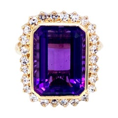 Vintage 7 Carat Russian Amethyst Diamond Ring