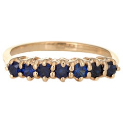 Vintage 7 Stone Sapphire Ring 14 Karat Yellow Gold Anniversary Band Jewelry