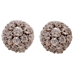 Vintage 7.00 Carat Diamond Platinum and Gold Cluster Dome Earrings