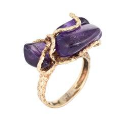 Vintage 1970s Amethyst Freeform Nugget Ring 14 Karat Gold Cocktail Jewelry