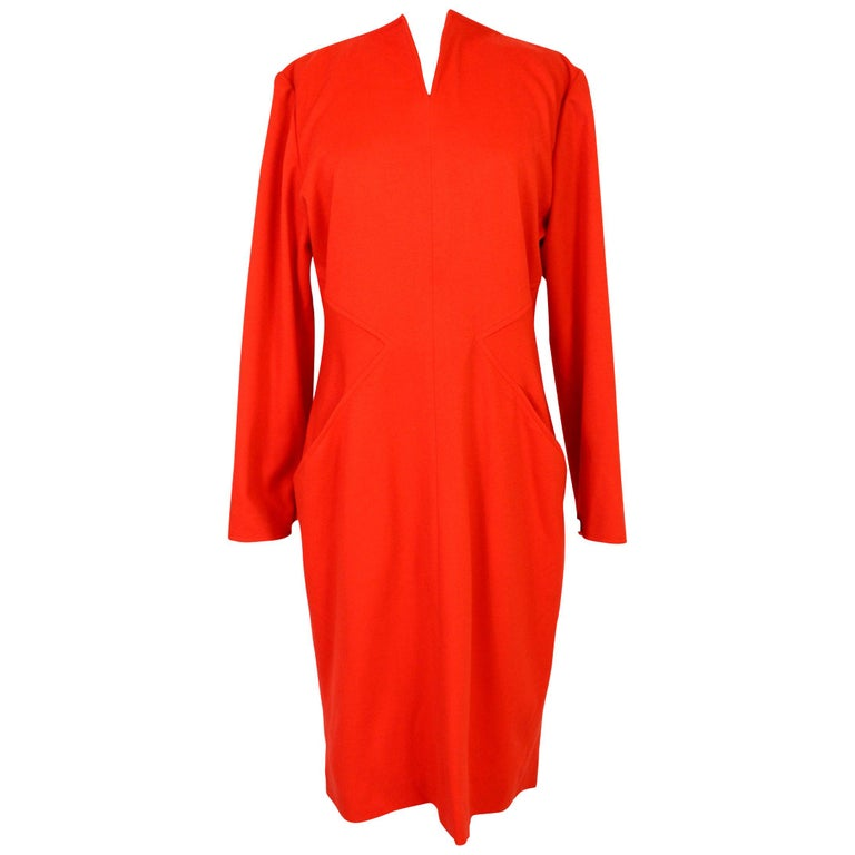 Vintage 70s Dani Red Wool Long Casual Dress  For Sale