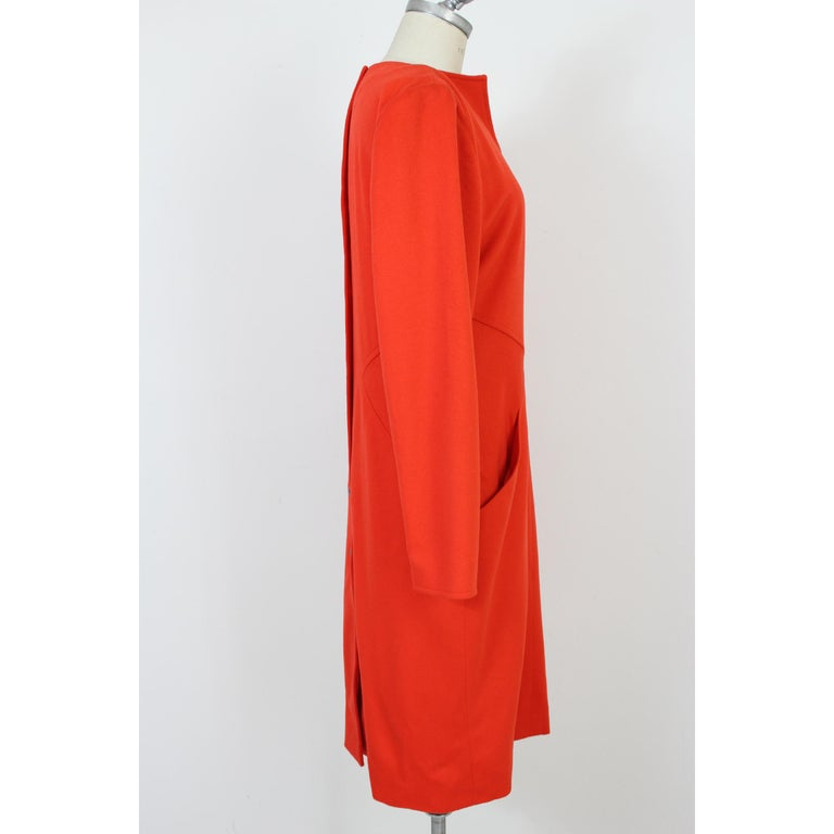 Vintage 70s Dani Red Wool Long Casual Dress  In New Condition For Sale In Brindisi, Bt