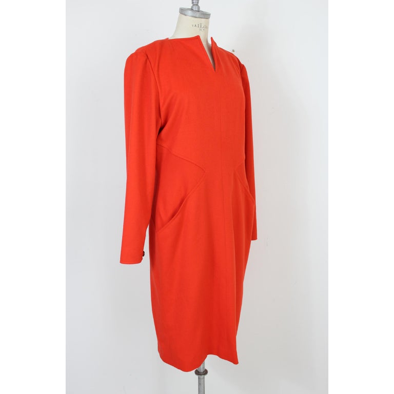 Women's Vintage 70s Dani Red Wool Long Casual Dress  For Sale