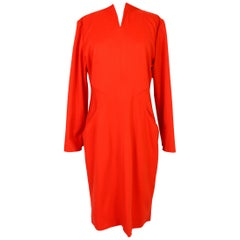 Vintage 70s Dani Red Wool Long Cocktail Dress