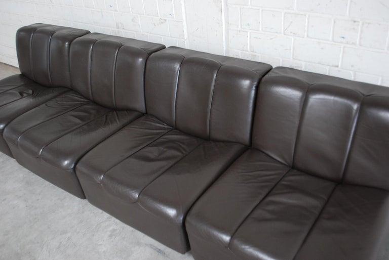 Vintage 1970s Design German Modul Brown Leather Sofa 10
