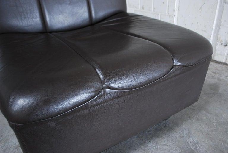 Vintage 1970s Design German Modul Brown Leather Sofa 11