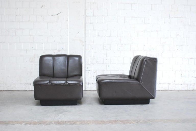 Vintage 1970s Design German Modul Brown Leather Sofa 12