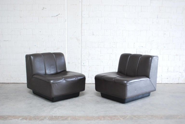 Vintage 1970s Design German Modul Brown Leather Sofa 14