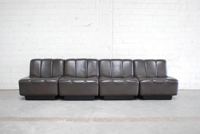 Vintage 1970s Design German Modul Brown Leather Sofa 15