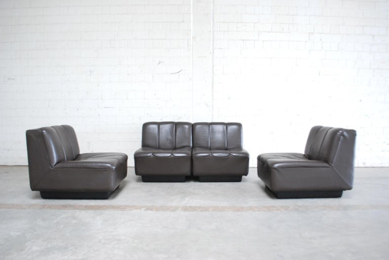 Vintage 1970s Design German Modul Brown Leather Sofa 2