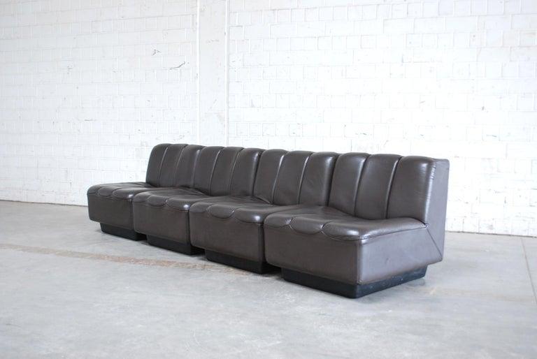 Vintage 1970s Design German Modul Brown Leather Sofa 3