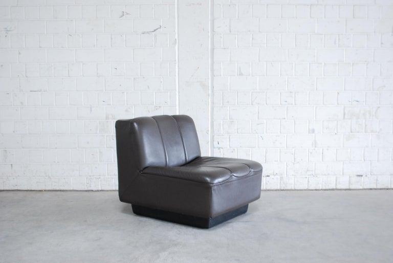 Vintage 1970s Design German Modul Brown Leather Sofa 4