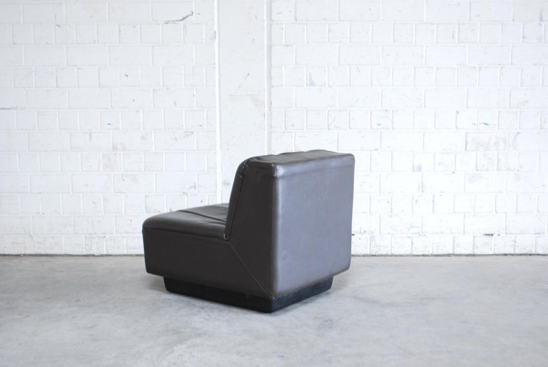 Vintage 1970s Design German 2x Modul Brown Leather Chair 6