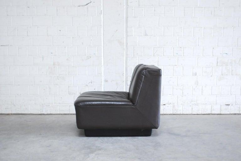 Vintage 1970s Design German Modul Brown Leather Sofa 5