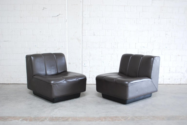 Vintage 1970s Design German 2x Modul Brown Leather Chair 2