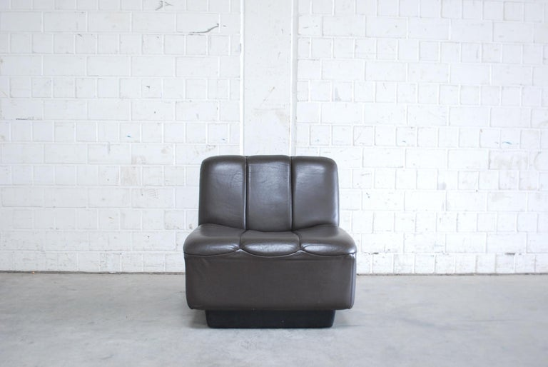 Vintage 1970s Design German Modul Brown Leather Sofa 6