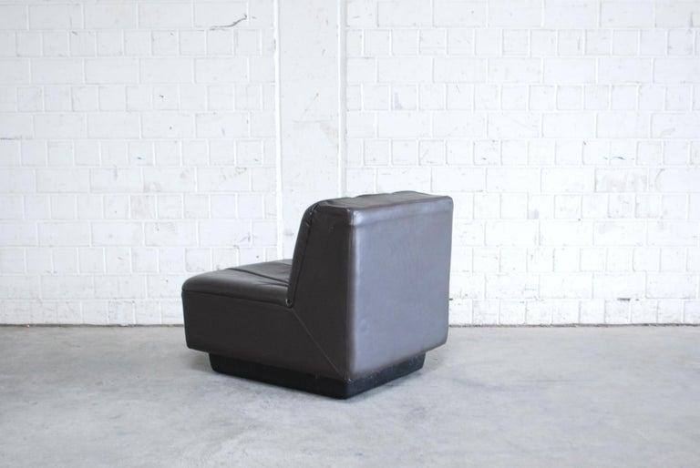 Vintage 1970s Design German Modul Brown Leather Sofa 7