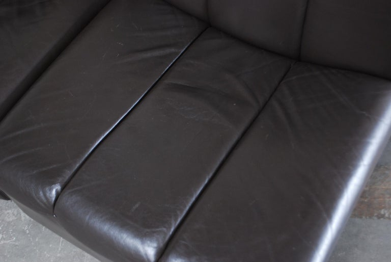 Vintage 1970s Design German Modul Brown Leather Sofa 8