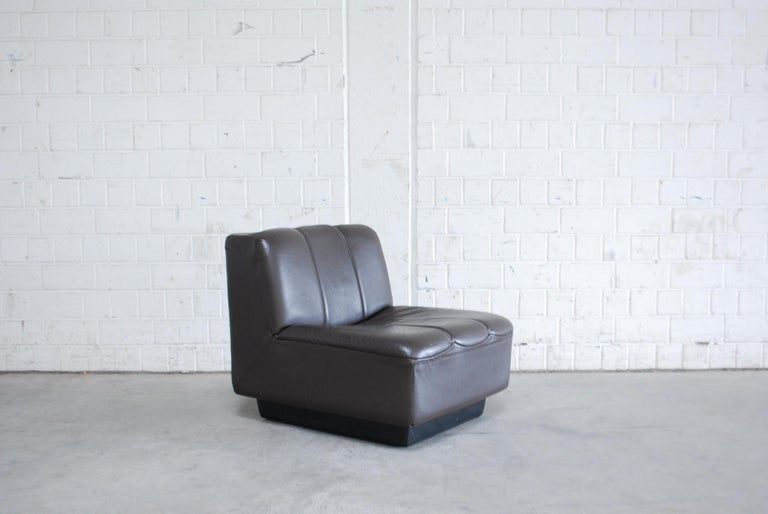 Vintage 1970s Design German 2x Modul Brown Leather Chair 3
