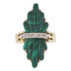Vintage 1970s Fluted Malachite Diamond Ring 14 Karat Gold Estate Fine Jewelry