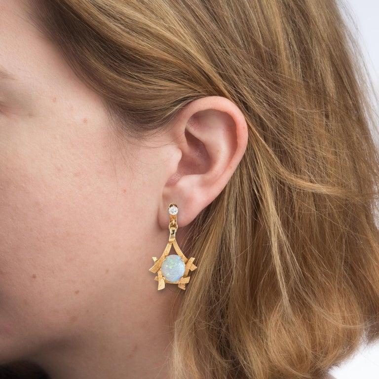 Modern Vintage 1970s Opal Diamond Earrings 14 Karat Yellow Gold Dangle Clip-On Jewelry For Sale