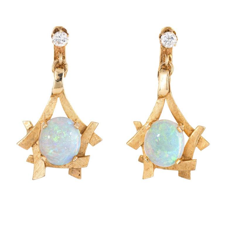 Oval Cut Vintage 1970s Opal Diamond Earrings 14 Karat Yellow Gold Dangle Clip-On Jewelry For Sale