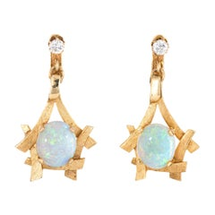 Vintage 1970s Opal Diamond Earrings 14 Karat Yellow Gold Dangle Clip-On Jewelry