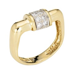 Vintage 70s Square Diamond Band 18k Yellow Gold Stacking Ring Fine Jewelry