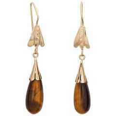 Vintage 1970s Tigers Eye Earrings 14 Karat Gold Pendant Drops Estate Jewelry