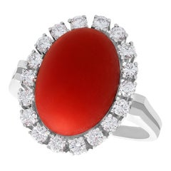 Vintage 7.36 Carat Red Coral and Diamond White Gold Cluster Ring