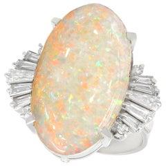 Vintage 7.39 Carat Opal and Diamond Platinum Cocktail Ring, circa 1960