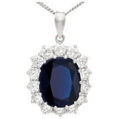Vintage 7.83 carat Sapphire and 1.68 carat Diamond White Gold Cluster Pendant