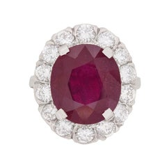 Vintage 7.91 Carat Ruby and Diamond Ring, circa 1950s