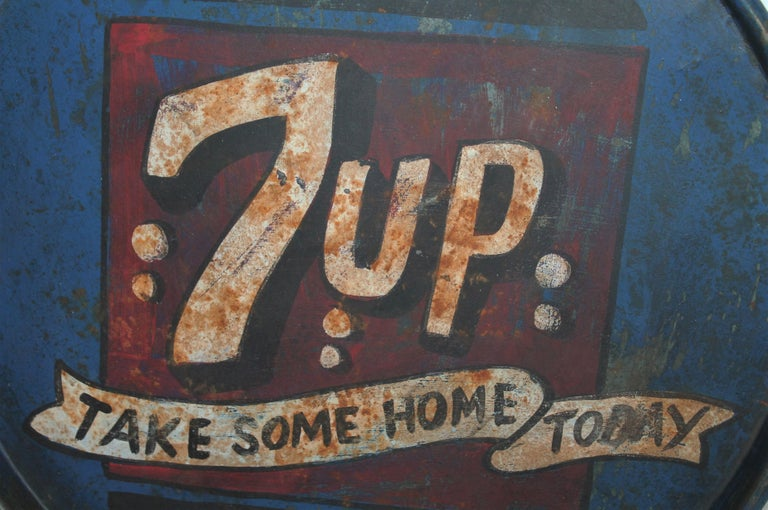 Hand-Painted Vintage 7up Tray For Sale