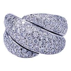 Vintage 8 Carat Diamonds Cluster Cocktail 14 Karat White Gold Ring
