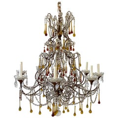 Vintage 8-Light Macaroni Beaded Chandelier with Amber Crystals