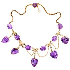 Vintage 80 Carat Amethyst Drop Choker Necklace 14 Karat Yellow Gold