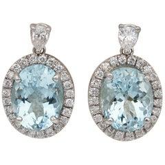 Vintage 8.00 Carat Natural Aquamarine 1.20 Carat Diamond Drop Earrings