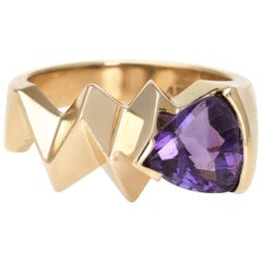 Vintage 1980s Amethyst Ring 14k Yellow Gold Geometric Band Estate Fine Jewelry 6