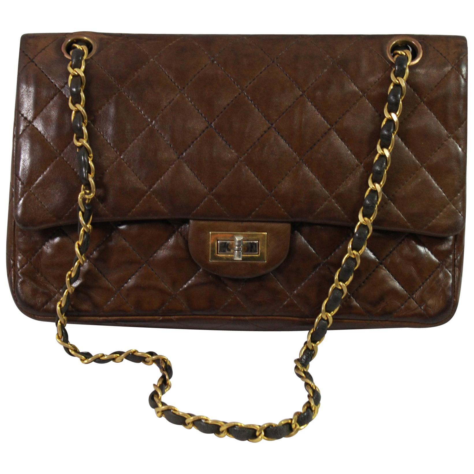 020174a0c27f Vintage 80's Chanel 2.55 Bag in Brown Letaher and Golden Hardware. size 10