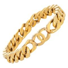 Vintage 80s Chanel Bracelet Curb Link CC Logo Yellow Gold Tone