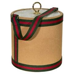 Vintage 1980s Fashion Stripe Canvas Ice Bucket