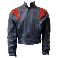 Vintage 80s Red Slashed Zip Leather Jacket