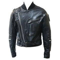 Vintage 80s Stud Sleeve Leather Biker Jacket